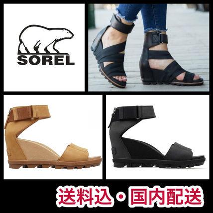 Casual Style Plain Leather Platform & Wedge Sandals
