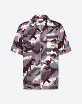 Mario Valentino Button-down Camouflage Silk Short Sleeves Shirts