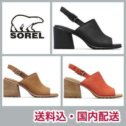 Casual Style Street Style Plain Leather Block Heels Sandals