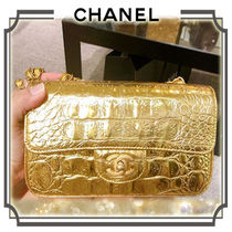 CHANEL TIMELESS CLASSICS Calfskin Bi-color Chain Other Animal Patterns Elegant Style