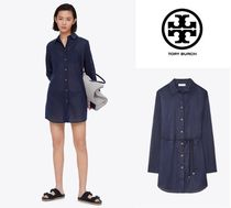 Tory Burch Long Sleeves Plain Cotton Tunics
