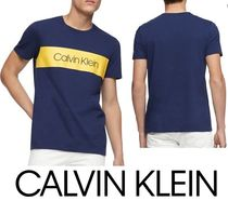 Calvin Klein Crew Neck Street Style Cotton Crew Neck T-Shirts