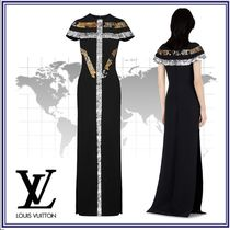 Louis Vuitton Blended Fabrics Plain Long Short Sleeves Party Style Dresses