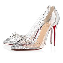 Christian Louboutin Blended Fabrics Studded Plain Pin Heels Party Style