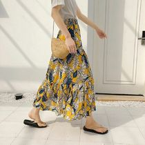 Tropical Patterns Casual Style Maxi Long Midi Maxi Skirts