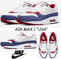 Nike AIR MAX 1 Unisex Blended Fabrics Street Style Leather Sneakers
