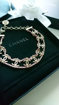 CHANEL ICON Costume Jewelry Blended Fabrics Chain Leather