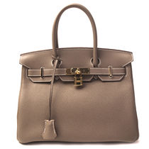 HERMES Birkin Unisex A4 Plain Leather Party Style Handbags