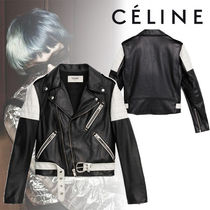 CELINE Short Blended Fabrics Street Style Bi-color Plain Leather