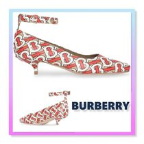 Burberry Monogram Open Toe Rubber Sole Leather Peep Toe Pumps & Mules