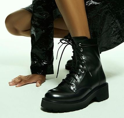 Open Toe Blended Fabrics Street Style Plain Boots Boots