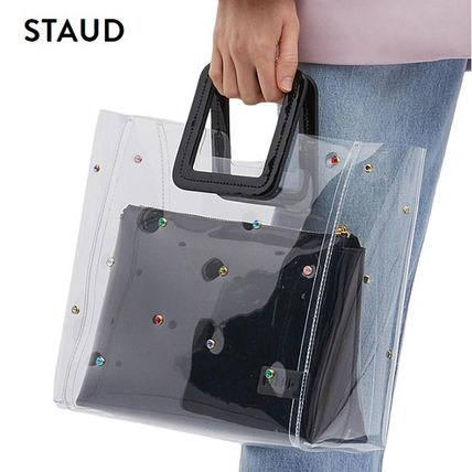 Casual Style Studded Plain Crystal Clear Bags PVC Clothing