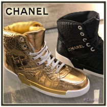 CHANEL Lace-up Other Animal Patterns Leather Low-Top Sneakers