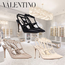 VALENTINO Casual Style Studded Plain Pin Heels Stiletto Pumps & Mules
