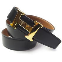 HERMES Unisex Blended Fabrics Bi-color Plain Leather Belts