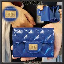 CHANEL MATELASSE Unisex Calfskin Plain Card Holders
