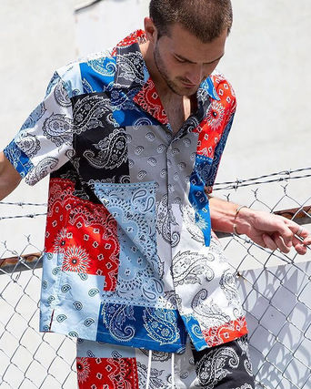 Button-down Paisley Unisex Street Style Cotton Short Sleeves