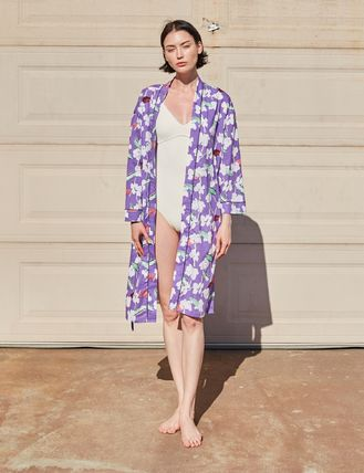 Flower Patterns Casual Style Long Outerwear