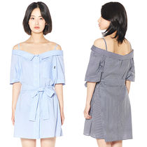 Charm's Short Stripes Casual Style Street Style Cotton Shirt Dresses