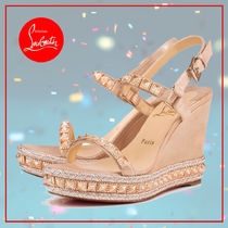 Christian Louboutin Pyraclou Open Toe Casual Style Suede Studded Plain With Jewels