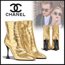CHANEL Casual Style Street Style Plain Leather Pin Heels