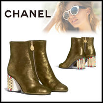 CHANEL Casual Style Street Style Plain Leather Block Heels