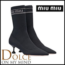 MiuMiu Round Toe Casual Style Pin Heels Ankle & Booties Boots