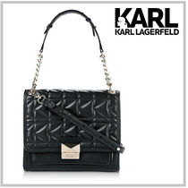 Karl Lagerfeld Studded 2WAY Chain Plain Leather Elegant Style Shoulder Bags