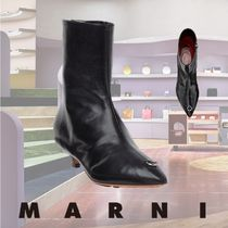 MARNI Rubber Sole Sheepskin Plain Ankle & Booties Boots