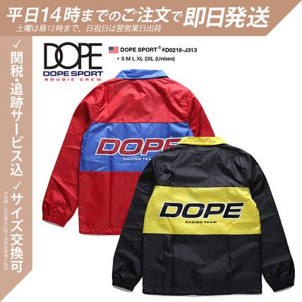DOPE couture More Jackets Unisex Nylon Street Style Bi-color Windbreaker Logo Jackets 3