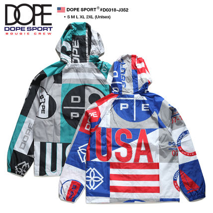 DOPE couture More Jackets Short Unisex Nylon Street Style Bi-color Windbreaker Logo 3