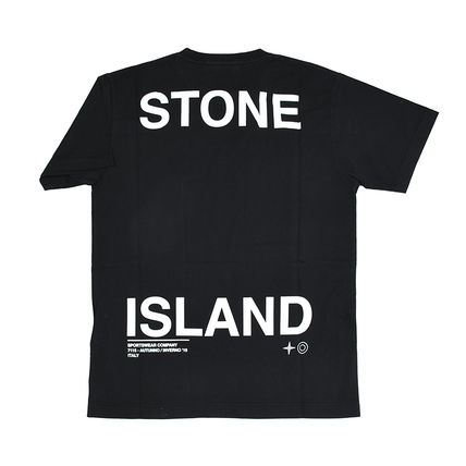 STONE ISLAND Crew Neck Crew Neck Street Style Plain Cotton Short Sleeves