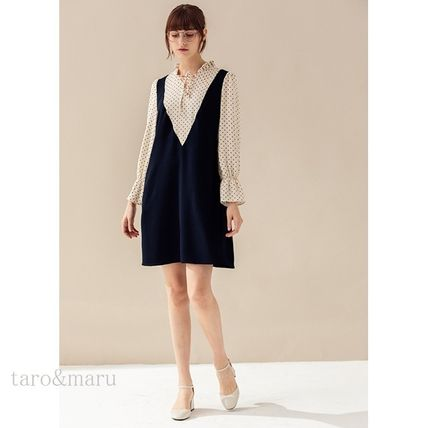 Short Dots Casual Style A-line Long Sleeves Plain Dresses