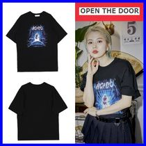 OPEN THE DOOR Unisex Street Style Cotton Short Sleeves T-Shirts