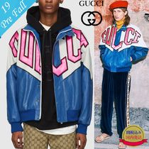 GUCCI Short Bi-color Leather Varsity Jackets