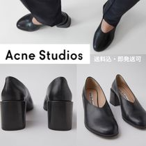 Acne Round Toe Casual Style Leather Chunky Heels Pumps & Mules