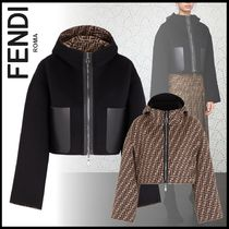 FENDI Short Monogram Wool Blended Fabrics Elegant Style Jackets