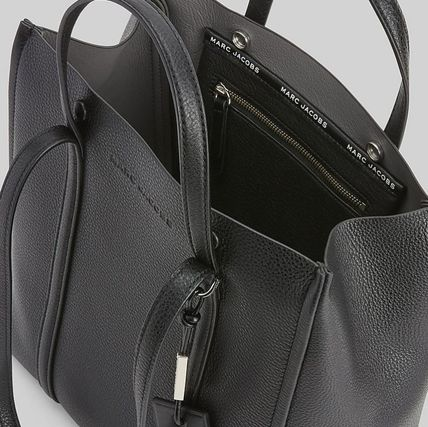MARC JACOBS THE TAG TOTE Plain Leather Elegant Style Logo Totes