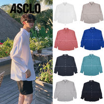 ASCLO Tropical Patterns Long Sleeves Oversized Shirts