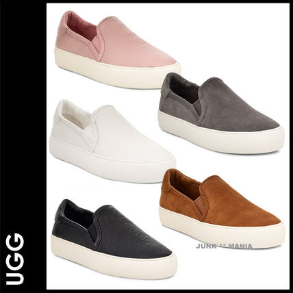 Plain Toe Casual Style Plain Leather Slip-On Shoes