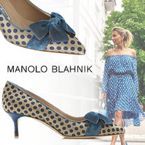 Manolo Blahnik Dots Elegant Style Pointed Toe Pumps & Mules