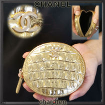 CHANEL ICON Unisex Calfskin Plain Other Animal Patterns Coin Purses
