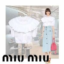 MiuMiu Short Casual Style Plain Cotton Short Sleeves