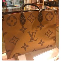 Louis Vuitton MONOGRAM Monogram Canvas Blended Fabrics A4 Bi-color Elegant Style