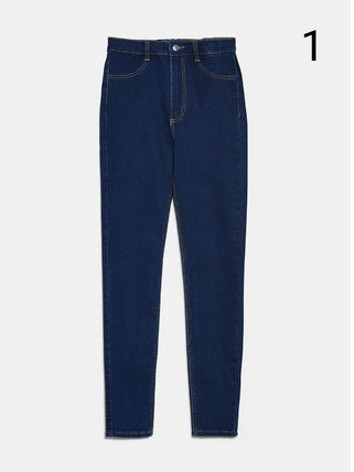 ZARA Plain Cotton Medium Skinny Pants