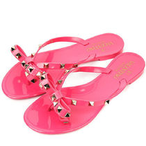 VALENTINO Open Toe Rubber Sole Casual Style Studded Plain Flip Flops