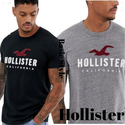Hollister Co. Crew Neck Crew Neck Street Style Bi-color Cotton Short Sleeves