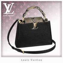 Louis Vuitton CAPUCINES Blended Fabrics 2WAY Leather Python Elegant Style Handbags