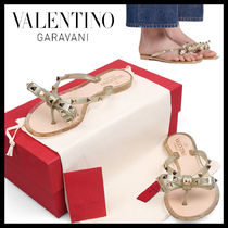 VALENTINO Open Toe Rubber Sole Casual Style Studded Flip Flops
