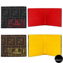 FENDI Monogram Unisex Street Style Folding Wallets